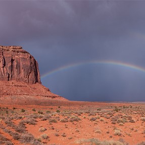 Monument valley and rainbow.