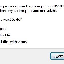 Uh oh. The following error occurred while importing DSC_____.JPG
