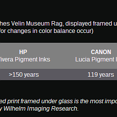 Pigment longevity and permanence by Printer brand?