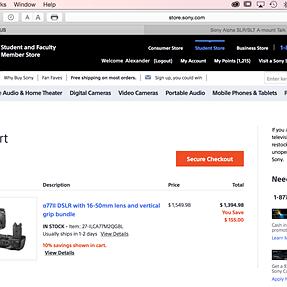 A77M2 / 16-50 / Grip - sale on Sony.com ($1,394)