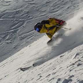 My son skiing offpiste - which image do you prefer? (+other C&C welcome)