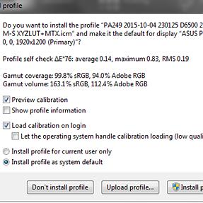 Asus PA249Q Calibration (ArgyllCMS + i1Display Pro + DispcalGUI): Only AdobeRGB 94%