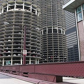 Historic water towers on many building downtown Chicago.